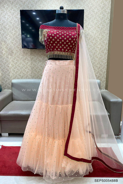 Wine Red and Peach Beads Embellished Crop Top Lehenga - View 1
