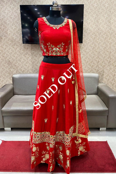 Red Foil Printed, Embroidered and Stone Embellished Crop Top Lehenga - View 1