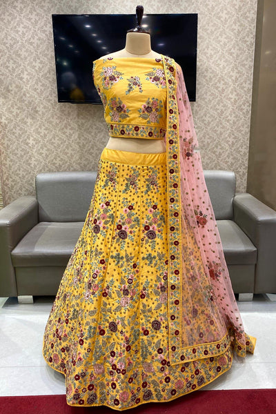 Yellow and Peach Stone and Threadwork Semi-Stitched Designer Lehenga - View 1