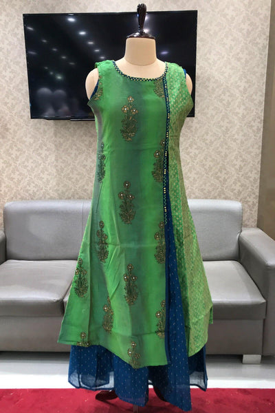 Green with Royal Blue Stone and Sequins Embellished Long Kurti - View 1