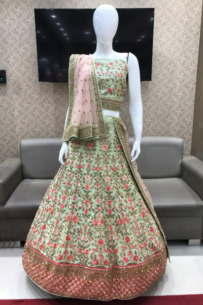 Pastel Green and Pink Aari, Thread, Stone Semi Stitched Bridal Lehenga  - View 1