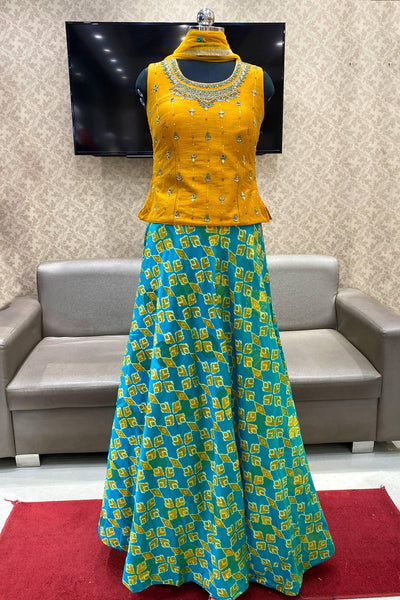 Mustard and Blue Beads and Mirror Work Patola Print Crop Top Lehenga - View 1
