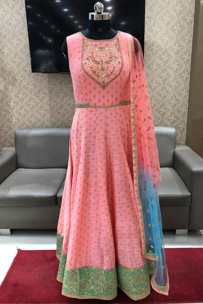 Peach Stone and Threadwork Long Anarkali Salwar Suit - View 1