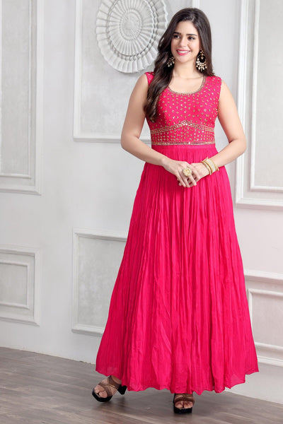 Pink Mirror and Sequinswork Floor Length Gown - View 1
