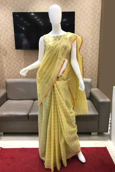 Yellow Aari Embroidery with Stripe Patterned Tissue Saree - View 1