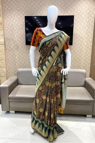 Dark Bottle Green Kalamkari Patterned Banarasi Dola Silk Saree - View 1