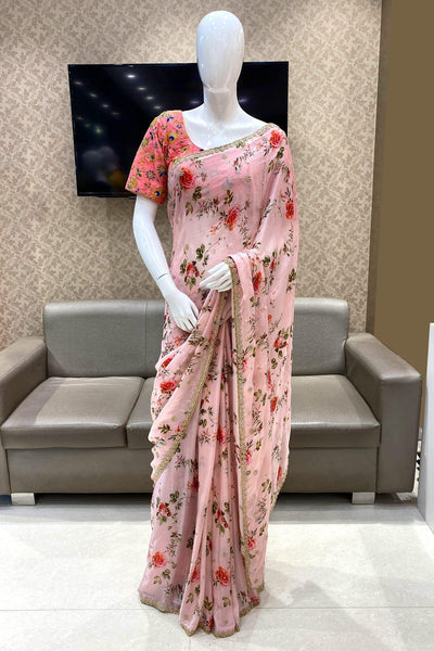 Pink Floral Print With Bead Embellishment Mulmul Silk Saree - View 1