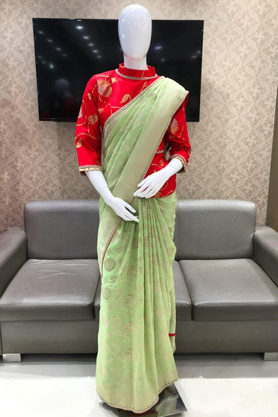 Light Pista Green Beaded Lace Georgette Silk Saree with Red Blouse -View 1