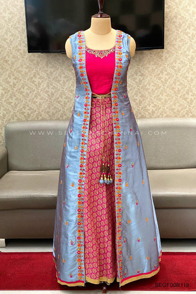Grey With Pink Jacket Style Anarkali Salwar Suit - View 1