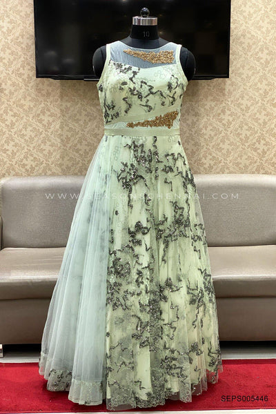 Sea Green Partywear Gown - View 1