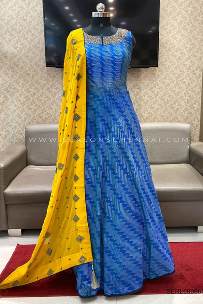 Blue With Yellow Threadwork Duppata Anarkali Suit - View 1