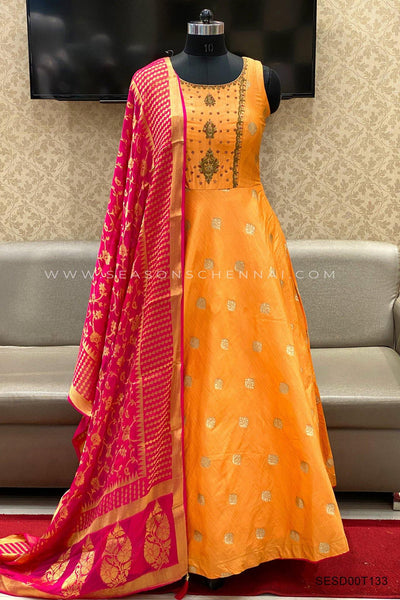 Orange With Pink Stone and Threadwork Anarkali Suit  - View 1