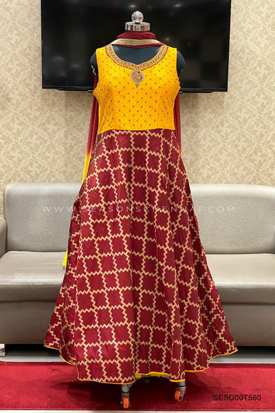 Yellow And Maroon Aari, Stone and Threadwork Anarkali Suit - View 1