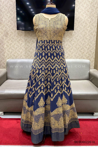 Blue Thread Embroidery Anarkali Suit - View 1