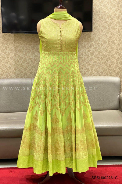 Light Green Threadwork Anarkali SuitLight Green Threadwork Anarkali Suit - View 1