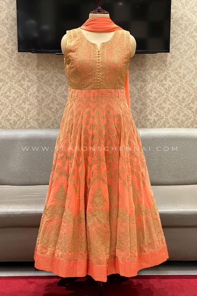 Peach Threadwork Anarkali Suit -View 1