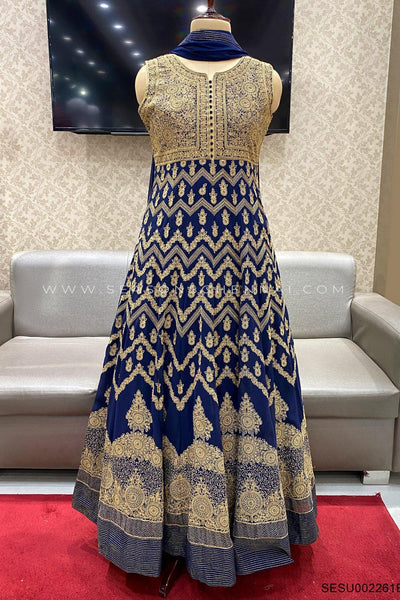 Navy Blue Threadwork Embroidery Anarkali Suit - View 1
