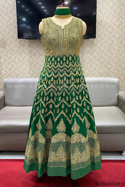 Dark Green Threadwork Anarkali Suit -View 1