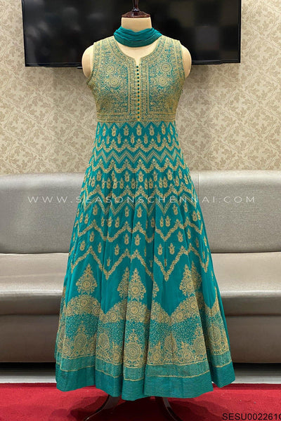 Turquoise Blue Thread Work Anarkali Suit  - View 1