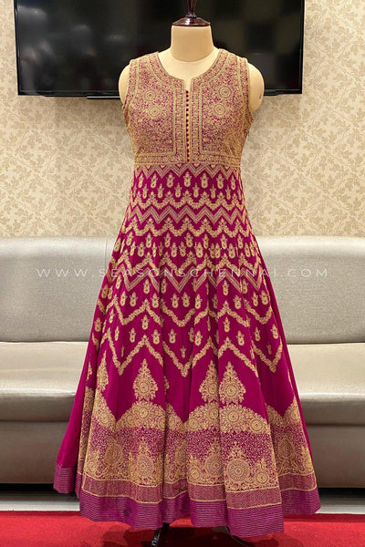 Magenta Threadwork Embroidery Anarkali Suit - View 1