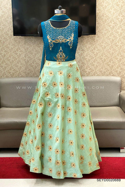 Teal Blue Stone and Threadwork Embellished Anarkali Suit - View 1