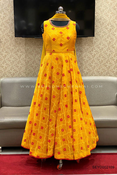 Yellow Threadwork Anarkali Salwar Suit - View 1