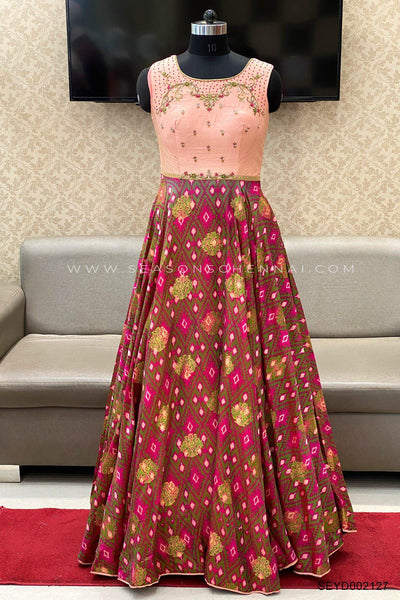 Peach Patola Print with Beads and Sequins Work Anarkali Suit - View 1