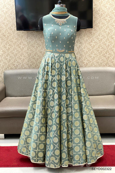 Grey Foil and Block Print Anarkali Salwar Suit - View 1