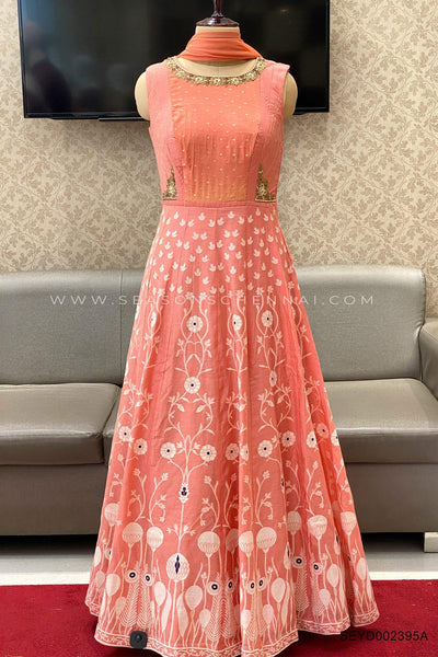 Peach Block Print Anarkali Salwar Suit - View 1