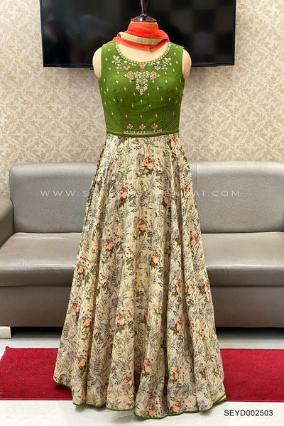 Green Zardosi and Threadwork Anarkali Salwar Suit - View 1