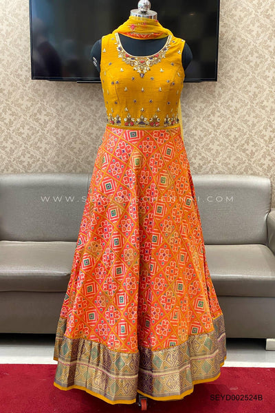Mustard and Orange Thread,Mirror, Stonework, Patola Printed Anarkali Suit  - View 1