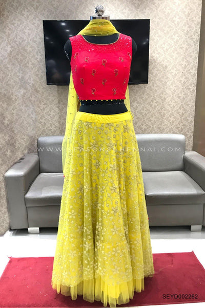 Pink and Yellow Floral Pattern and Bead Work Crop Top Lehenga - View 1