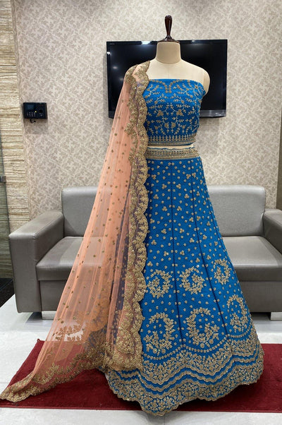 Cobalt Blue and Peach Stone and Aari work Semi-Stitched Designer Bridal Lehenga - View 1