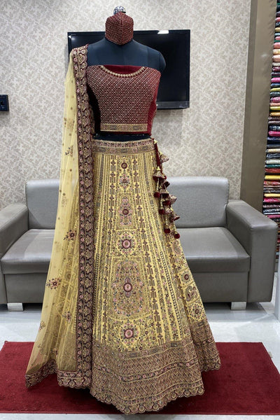 Yellow and Maroon Stone with Threadwork  Semi-Stitched Designer Bridal Lehenga - 1