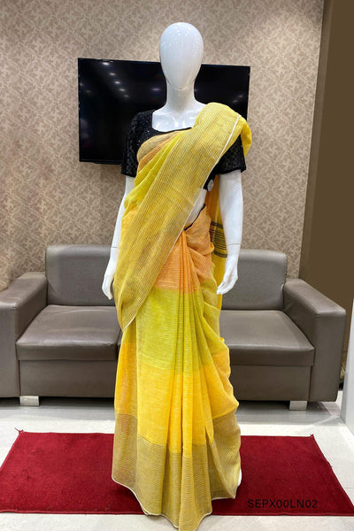 Shades of Yellow Striped Patterned Linen Saree - View 1