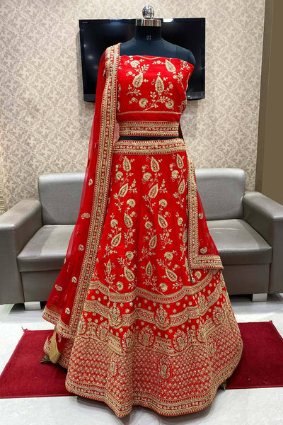 Red Pearl and Aari Work Semi Stitched Lehenga