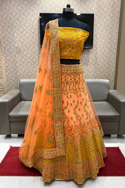 Mustard and Peach Aari, Thread and Stonework Semi Stitched Lehenga