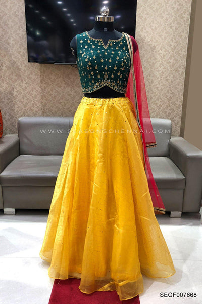 Bottle Green and Yellow Mirrorwork and Bead Crop Top Lehenga - View 1
