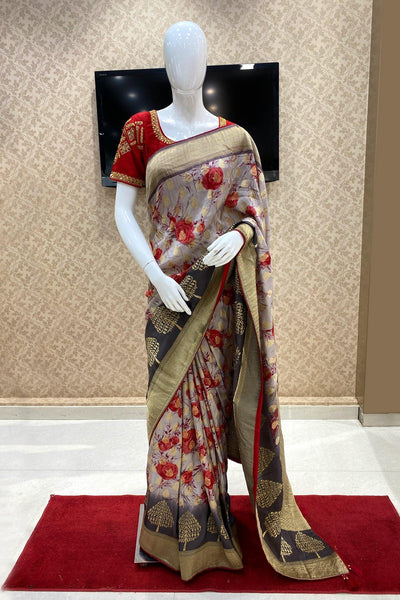 Grey Digital Print Banarasi Dola Silk Saree  - Cover View