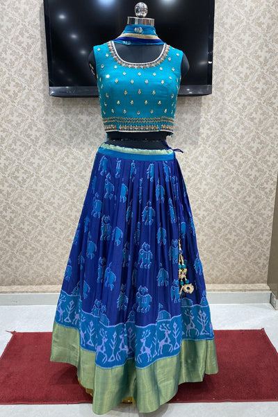 Blue Mirror, Zardosi Work and Patola Print Crop Top Lehenga -View 1