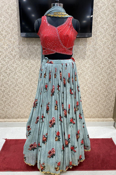 Red and Blue Mirror Work and Floral Print Crop Top Lehenga - View 1