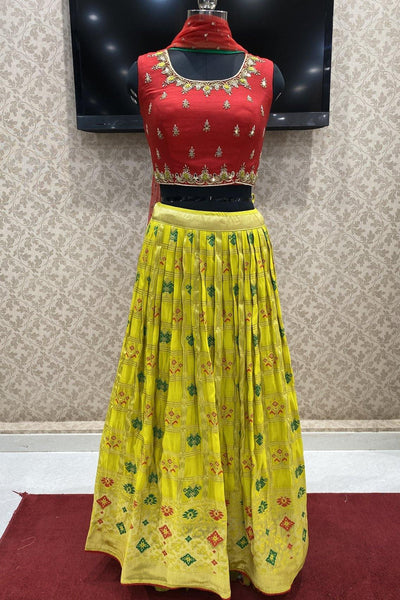 Red and Yellow Thread, Mirrorwork with Patola Print Crop Top Lehenga - View 1