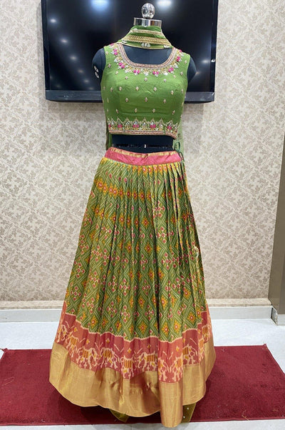 Green Patola Print and Zardosi Work Crop Top Lehenga - View 1