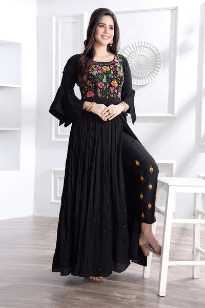 Black Thread Embroidery Floor Length Anarkali Suit  - View 2