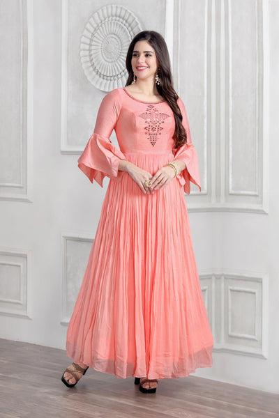 Peach Mirror Work Floor Length Anarkali Gown - Model 1