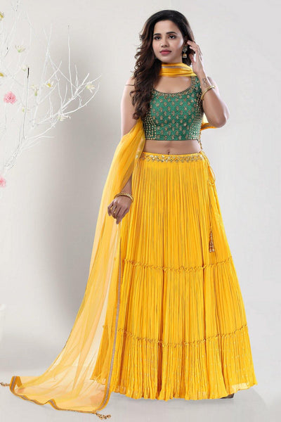 Yellow Basil Green Mirror and Aariwork Crop Top Lehenga - View 1