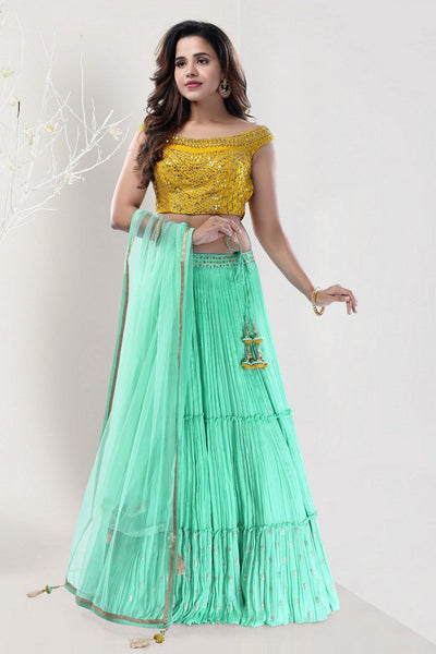 Yellow and Light Teal Blue Mirrorwork Boat Neck Crop Top Lehenga - View 1