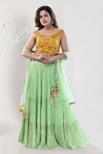 Yellow and Mint Green Embroidery and Mirrorwork Crop Top Lehenga - View 1