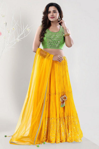 Yellow and Pastel Green Mirror and Threadwork Crop Top Lehenga - View 1