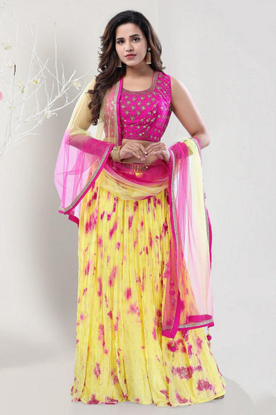 Rani Pink and Lime Yellow Mirror and Stonework Crop Top Lehenga -View 1